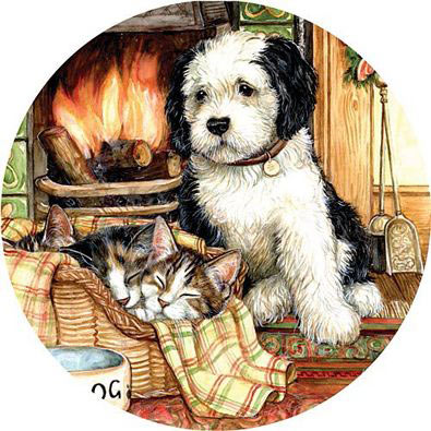 Resting By The Fire 300 Large Piece Round Jigsaw Puzzle