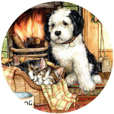 Resting By The Fire 1000 Piece Round Jigsaw Puzzle
