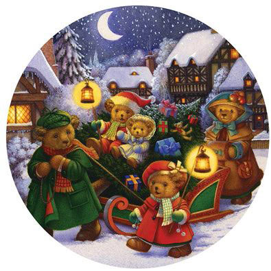 Bringing In The Tree 300 Large Piece Round Jigsaw Puzzle