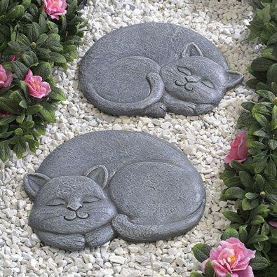 Set of 2: Sleeping Cat Animal Stepping Stones