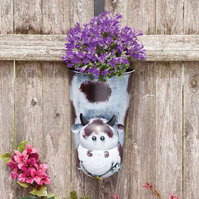 Cow Bobbing Head Hanging Planter