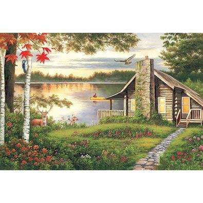 Misty Lake Cottage 1000 Piece Jigsaw Puzzle