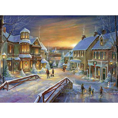 Holiday Village 300 Large Piece Gold Foil Jigsaw Puzzle
