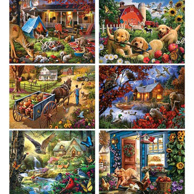Set of 6: Larry Jones 300 Large Piece Jigsaw Puzzles
