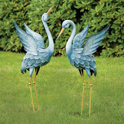 Japanese Blue Heron Metal Garden Sculpture (Beak Facing Down)
