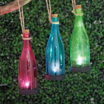 Blue Solar Powered Hanging Glass Bottle