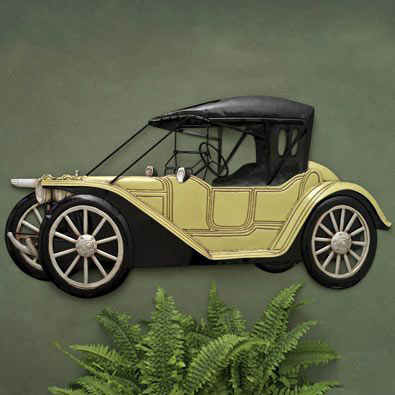 Black & Yellow Old-time Car Wall Art