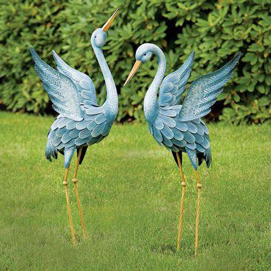 Set Of 2: Japanese Blue Herons Animal Garden Sculptures