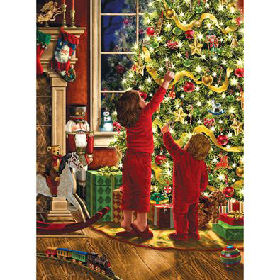 Children Decorating The Christmas Tree 300 Large Piece Glitter Effects Jigsaw Puzzle