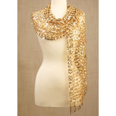 Sequined Scarf- Gold