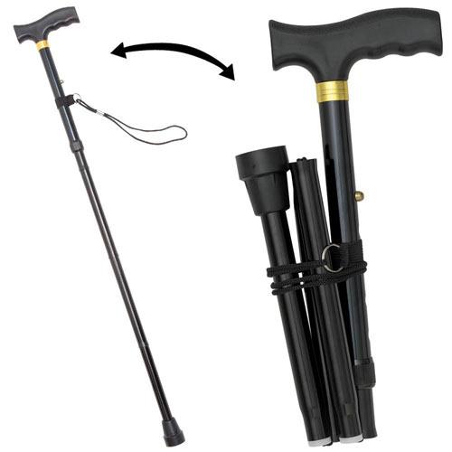 Stylish Foldable Walking Cane - Black