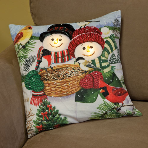 Snowmen Light-Up Pillow
