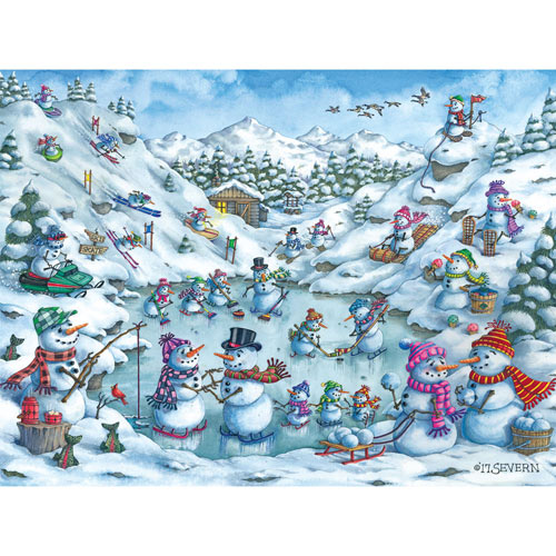 Fun at Snow Mountain 500 Piece Jigsaw Puzzle