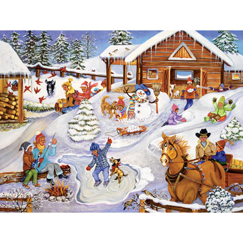 Winter Fun on the Farm 300 Large Piece Jigsaw Puzzle