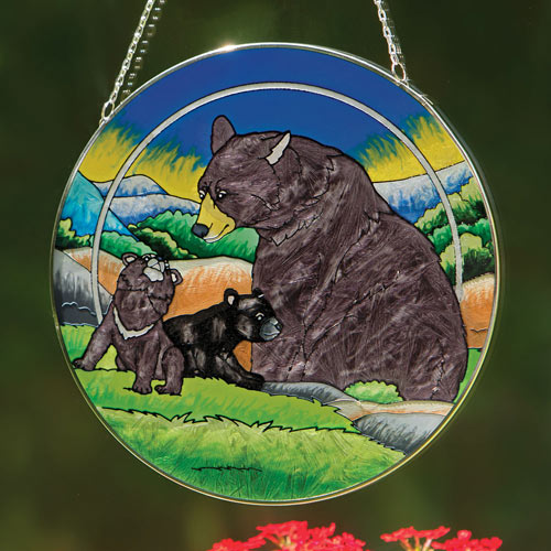 Bear Family Glass Suncatcher