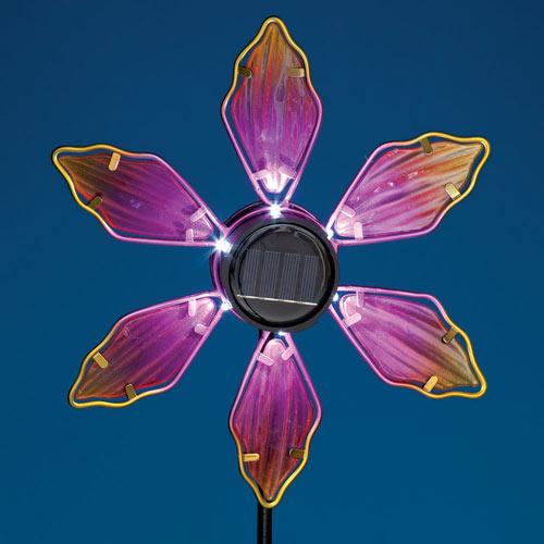 Solar Pink Coneflower Spinner Stake
