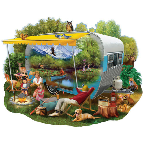 Camping Trip 750 Piece Shaped Jigsaw Puzzle