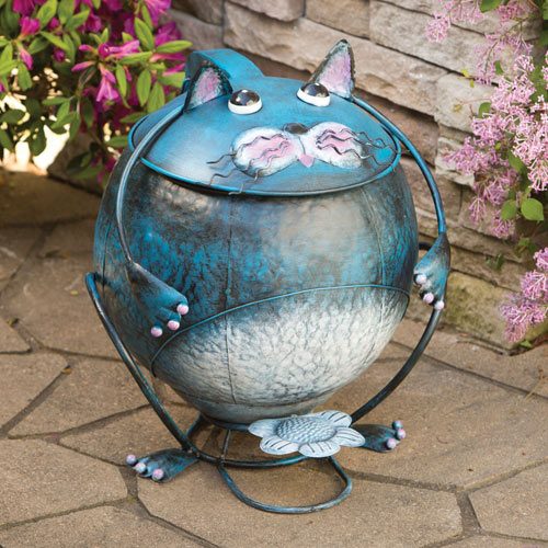 Cat Metal Trash Can
