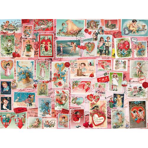 Valentine Stamps Quilt 500 Piece Jigsaw Puzzle