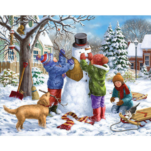 Building a Snowman on a Snowday 300 Large Piece Jigsaw Puzzle
