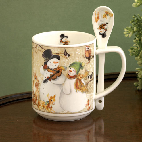 Ceramic Snowman Mug & Spoon Set