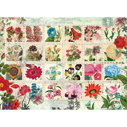 Flower Stamps Quilt 1000 Piece Jigsaw Puzzle