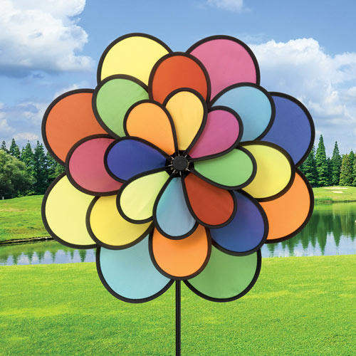 Nylon Triple Flower Wind Spinner