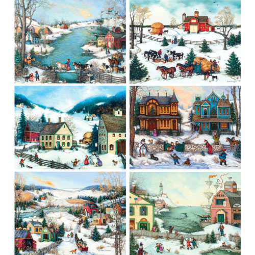 Set of 6: Linda Nelson Stocks 1000 Piece Puzzles