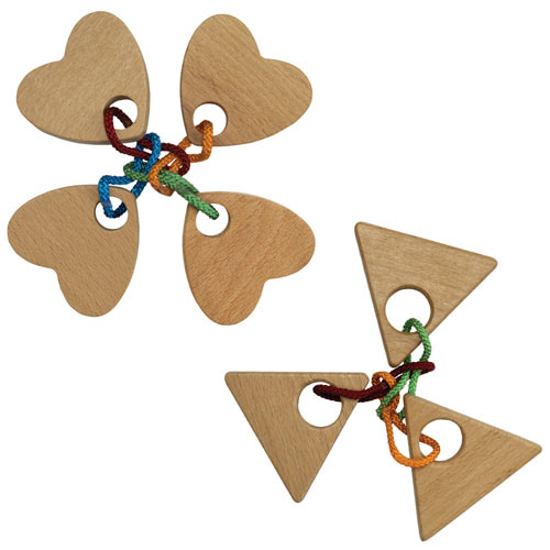 Set of 2: Quatro Heart & Power of Three String Puzzles
