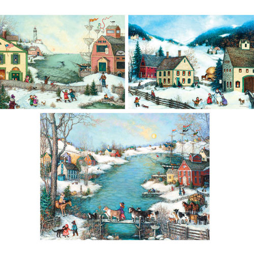 Set of 3 Pre-Boxed: Linda Nelson Stocks 300 Large Piece Jigsaw Puzzles
