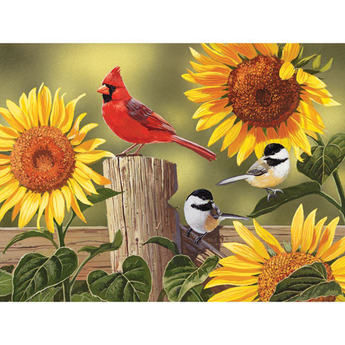 Sunflowers and Songbirds 300 Large Piece Jigsaw Puzzle