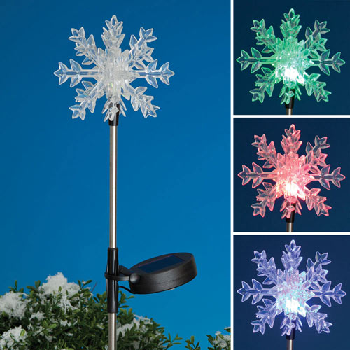 Snowflake Color Change LED Solar Garden Stake
