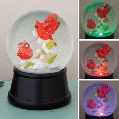 Cardinals Color Change Snowglobe LED Globe