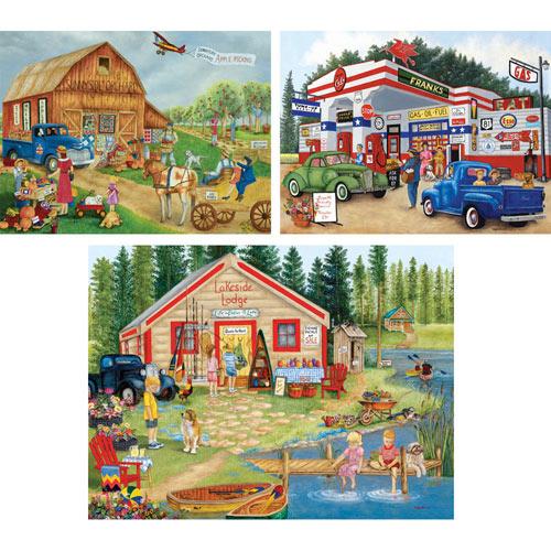 Set of 3: Kay Lamb Shannon 500 Piece Summer Jigsaw Puzzles