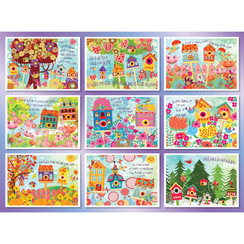 Blooms and Birdhouses Quilt 1000 Piece Jigsaw Puzzle