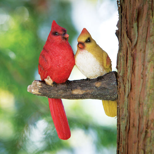 Cardinal Pair Tree Sculpture