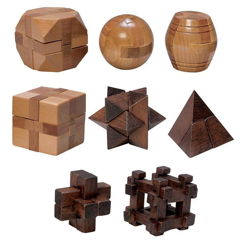 Set of 8: Classic Mini Wooden Brainteaser Sets