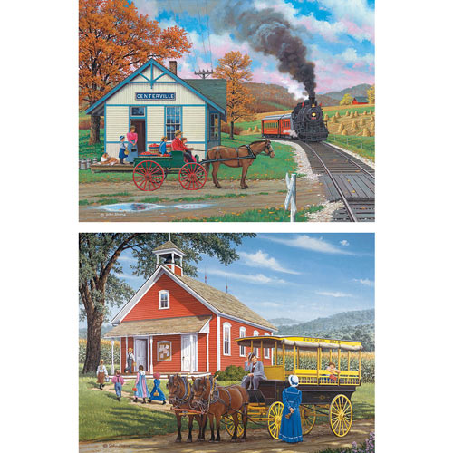 Set of 2: Prebox John Sloane 500 Piece Jigsaw Puzzles