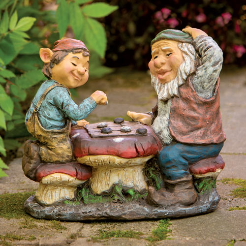 Gnomes Playing Checkers Statue