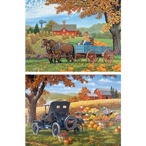Set of 2: Prebox John Sloane 500 Piece Fall Jigsaw Puzzles