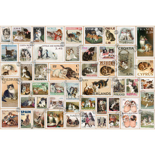 Cat Stamps Quilt 1000 Piece Jigsaw Puzzle