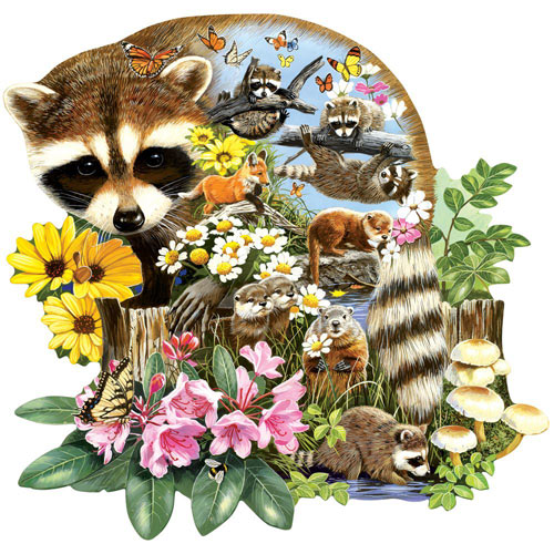 Raccoon Cub 750 Piece Shaped Jigsaw Puzzle