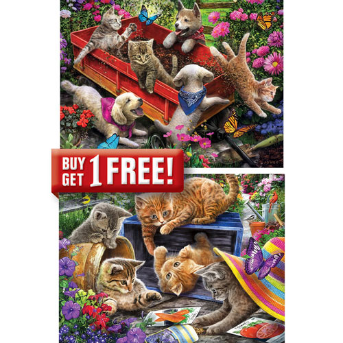 Set of 4: Linda Picken 300 Large Piece Jigsaw Puzzles
