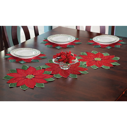 Set of 4: Poinsettia Placemats - 14-1/2 Round