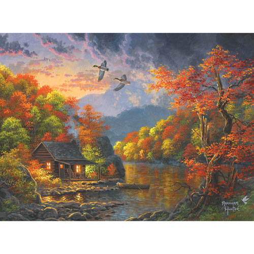 Watercolor Lakeside Retreat 300 Large Piece Jigsaw Puzzle