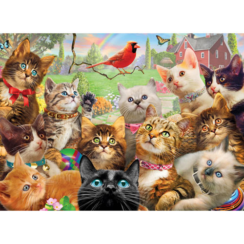 Kittens and a Cardinal 1500 Piece Jigsaw Puzzle