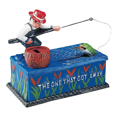 Go Fish Cast-Iron Mechanical Bank