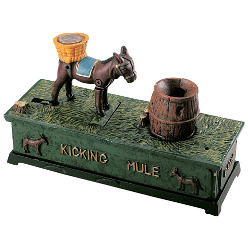 Kicking Mule Cast-Iron Bank