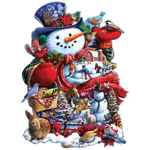 Happy Holiday Snowman 750 Piece Shaped Jigsaw Puzzle