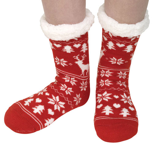 Slipper Socks Red Nordic Print